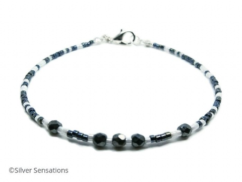 Tiny Blue Black & White Seed Bead Layering Boho Fashion Bracelet